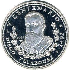 Moneda 3 onzas de plata 30 pesos Cuba Velazquez 1991.