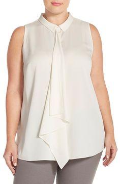 Classiques Entier® Ruffle Front Stretch Silk Blouse (Plus Size)