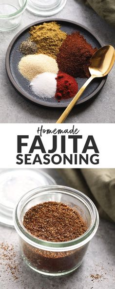 Make your own all-purpose fajita seasoning at home with just 6 basic spices! You can use our homemade fajita seasoning recipe on chicken, steak, veggies, in soup and more. Chicken Fajitas Seasoning, Fajita Seasoning Mix, Fajita Mix, Fajita Spices, Homemade Fajita Seasoning, Baked Chicken Fajitas, Seasoning Recipe, Chicken Steak, Best Fajita Recipe