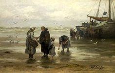 """Philip Lodewijk Jacob Frederik Sadée (1837 -1904). Het lijken haringen, die de vrouw links in haar hand heeft. Zij geeft de vissen aan de oude vrouw, die blijkbaar nog geen vis heeft kunnen oprapen. Philip Sadée schilderde """"Het deel der armen"""", wat een moderne versie moest zijn van het Bijbelverhaal van Ruth en Boas. Arme vrouwen rapen achtergelaten visjes van het strand, terwijl op de achtergrond de rijke visvangst op een gereedstaande kar wordt geladen."""