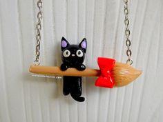 Kiki's Delivery Service Jiji Broom Necklace by NerdyLittleSecrets - £11.35