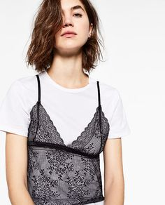 d863c4519a4fa Image 6 of LACE T-SHIRT TOP from Zara