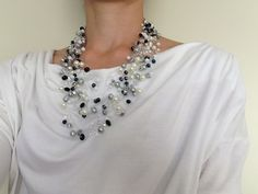 Invisible necklace, white, black and gray crystal and pearls