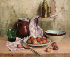 Robert Chailloux. Still Life with Strawberries and Brown Jug