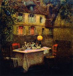۩۩ Painting the Town ۩۩ city, town, village & house art - Henri Le Sidaner | The Table, Gerberoy