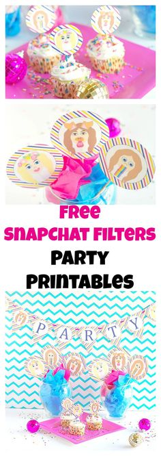 Free snapchat party printables. This theme is perfect for teens and twentysomethings. All you need are these printables for a snapchat party!