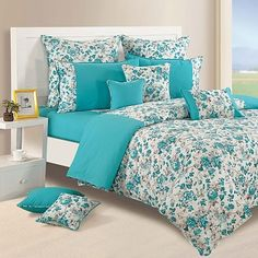 Aqua Floral Duvet Covers, Comforters & Quilts-Shades of Paradise-2711