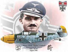 Military and Aviation (greatmilitarybattles: Adolf Galland. Ww2 Aircraft, Fighter Aircraft, Military Aircraft, Luftwaffe, Adolf Galland, Air Fighter, Fighter Pilot, Photo Avion, Nose Art