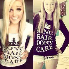 Falls coming fast! Keep Calm LHDC long sleeve on sale for $29.95 www.LHDC.com #longhairdontcare #hair #lhdc #keepcalm #longsleeve #LHDCclothing
