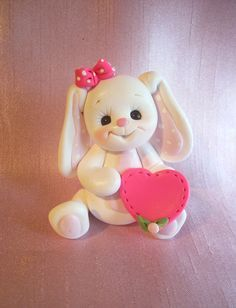 bunny rabbit cake topper Christmas ornament  children birthday handcrafted animal decoration personalized gift. $15.50, via Etsy.