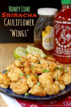 Honey Lime Sriracha Glazed Cauliflower Wings - spicy, sweet, sticky appetizer, snack or side dish! Make some alterations to make vegan and GF Veggie Dishes, Vegetable Recipes, Vegetarian Recipes, Healthy Recipes, Sriracha Recipes, Delicious Recipes, Appetizer Recipes, Appetizers, Whole Food Recipes