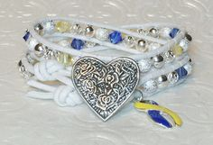 Down Syndrome Awareness Double Wrap Bracelet~ Swarovski Crystals~ Yellow & Blue Ribbon