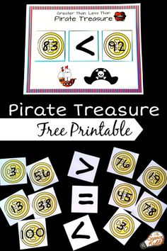 This free printable pirate treasure greater than less than activity will make practicing math fun and engaging! Perfect for kindergarten and first grade math centers, homeschool lessons, and after school practice. Pirate Activities, Educational Activities For Kids, Math Activities, 1st Grade Math, Kindergarten Math, Teaching Math, Teaching Aids, Second Grade, Math For Kids
