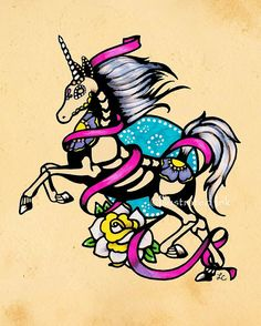Day of the Dead UNICORN Tattoo Flash Art Print 5 by illustratedink, $10.00