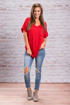 """""""On The Go Tee, Red""""When you're on the go you have to be comfortable in what you're wearing. You want to be comfy, unrestricted and unencumbered.  #newarrivals #shopthemint"""