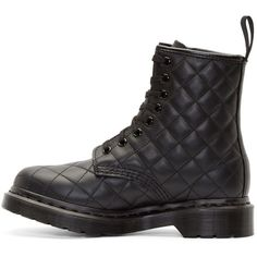 Dr. Martens Black Quilted 8-Eye Coralie Boots ($135) ❤ liked on Polyvore featuring shoes, boots, round toe shoes, kohl boots, ankle length boots, quilted shoes und quilted leather boots