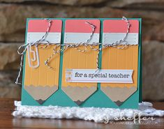 For A Special Teacher Card by Amy Sheffer for Papertrey Ink (April - Amazing Diy Gifts Teachers Day Card, Teacher Cards, Teacher Appreciation Gifts, Teacher Gifts, Diy Cadeau, Punch Art Cards, Paper Cards, Kids Cards, Cute Cards