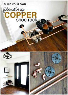 Easy DIY Copper Shoe Rack Tutorial - 100 Ultimate DIY Entryway Ideas That You Can DIY Easily - DIY & Crafts
