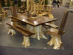 Rustic Log Table | Rustic Log Cabin Furniture | Cedar Log Furniture  STUNNING! What a way to use up what you have!