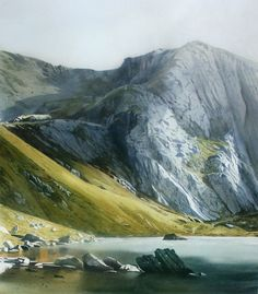 Cliffs of Glyder Fawr, an original watercolour painting by Rob Piercy, Mountains,Lakes and Rivers, Wales,Glyderau, 55 cm x 70 cm