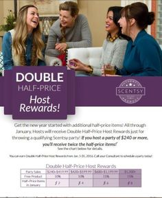 Yay! Our Scentsy hostesses will earn double the half-price hostess rewards in January 2016! Request your party by following the link.