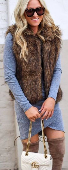#winter #outfits grey pencil dress, faux fur sleeveless coat, beige long boots, white bag