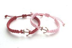 Couple Bracelets, Copper Anchor Bracelets, Set of 2 Waxed Cord Bracelets, His Her Cotton Bracelet, Matching Bracelets, Mens Womens, Macrame by knotwrap on Etsy