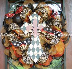 Cross Animal Leopard Print Deco Mesh Wreath by myfriendbo on Etsy, $89.00
