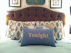 Tonight Tonight Pillow or pillow cover in Cream and Light Blue - Available in more colors on Etsy, $45.00
