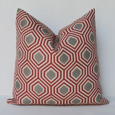 Decorative Pillow 16x16'' red and grey contemporary Accent Pillow Throw Pillow Cushion cover