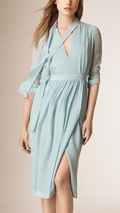 Azul claro Vestido de seda com detalhe amarrado - Imagem 1