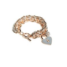 GUESS Rose Gold-Tone Charm Toggle Bracelet ($25) ❤ liked on Polyvore featuring jewelry, bracelets, braid charms, rhinestone charms, heart bangle, toggle charm bracelet and toggle bracelet