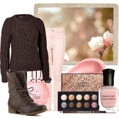 """""""39/50: Brown + Pink"""" by eiluned on Polyvore"""