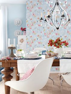 dining room, nice furniture mix + pretty wallpaper + lovely colours