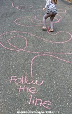 Some ideas for sidewalk games for kids using chalk. Easy to set up and fun for kids.