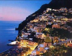 Picturesque Hillside Positano Italy at Night