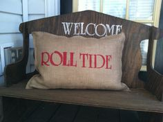Burlap pillow roll tide by frichie32 on Etsy, $12.00