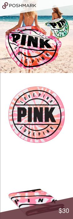 Pink Victoria Secret Round Beach TowelSale Pink Victoria Secret beach towel features the beautiful big round logo design towel.  The towel come in beautiful bright pink, orange, white with bold black lettering logo. PINK Victoria's Secret Accessories