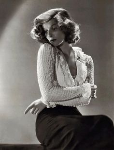 Katharine Hepburn, back when RKO was still insistent that she be crammed into a mold. At some point, everyone just gave up and let her skulk about all freckled and pantsed. Probably around the same time she sold The Philadelphia Story to LB Mayer and told him how things were going to be.