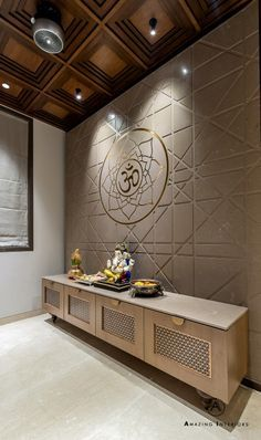 A Deluxe Lodging - Apartment Interiors Temple Room, Home Temple, Apartment Interior, Room Interior, Home Interior Design, Temple Design For Home, Mandir Design, Pooja Room Door Design, Home Decoracion