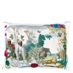 Wild Nature Papaye Throw Pillow design by Designers Guild