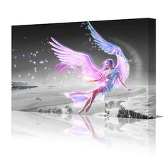 Fantasy pink angel #wings #flying fantasy large framed canvas art picture #print ,  View more on the LINK: 	http://www.zeppy.io/product/gb/2/171362492340/