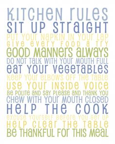 Free Kitchen Rules Subway Art Printable