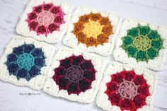 Crochet Dahlia Squares Pattern - Repeat Crafter Me