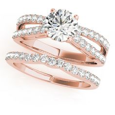 Engagement Ring -Split Band Diamond Bridal Set with Floral Prongs in... ($1,940) ❤ liked on Polyvore featuring jewelry, rings, round wedding rings, engagement rings, rose gold diamond ring, diamond engagement rings and square diamond rings