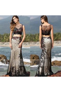 Applique #Mermaid Illusion Summer Beach 2 Piece Prom #EveningDress