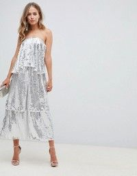 Find the best selection of ASOS DESIGN bandeau embellished jumpsuit with tiered leg. Shop today with free delivery and returns (Ts&Cs apply) with ASOS! Asos, Embellished Jumpsuit, Curvy Bride, Mode Online, Club Outfits, Overall, Occasion Wear, Bandeau, Playsuits