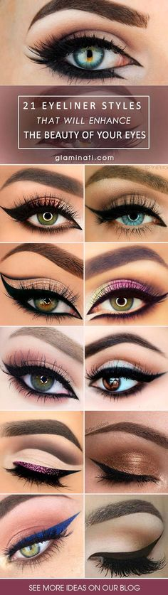 27 Eyeliner-Stile, die Ihren Augen eine attraktive Note verleihen Would you like to learn more about eyeliner styles? Then you should definitely see our post and the most gorgeous styles to compliment your eyes. - Schönheit von Make-up Makeup Guide, Eye Makeup Tips, Makeup Goals, Makeup Inspo, Beauty Makeup, Makeup Ideas, Makeup Products, Quick Makeup, Beauty Tips