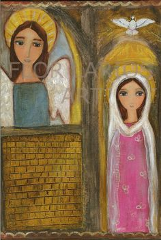 SALE 25% off use code: PRESIDENT25 - The Annunciation  Folk Art  Print from Painting 6 x by FlorLarios, $15.00