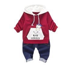 2017 New autumn baby Boys clothes Suit Newborn Cotton Hooded Jacket+Jeans Pants Outfits 2pcs Sets Baby Boys Clothes